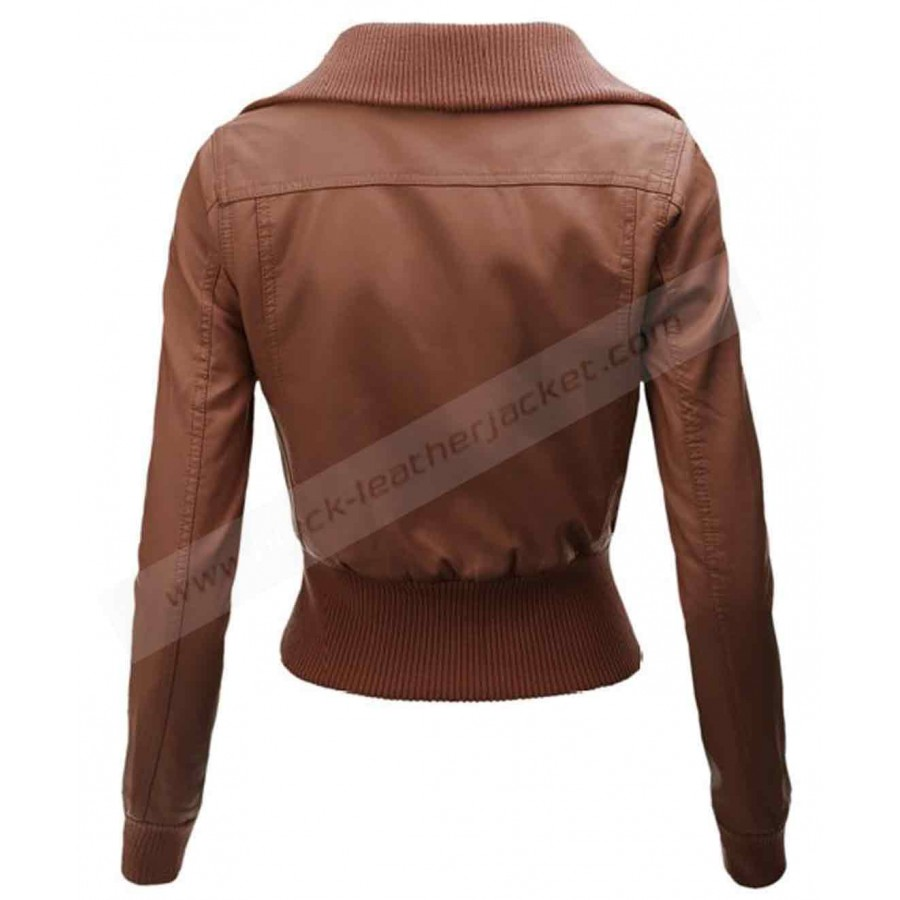Faux Leather Brown Jacket | Womens Biker Jacket