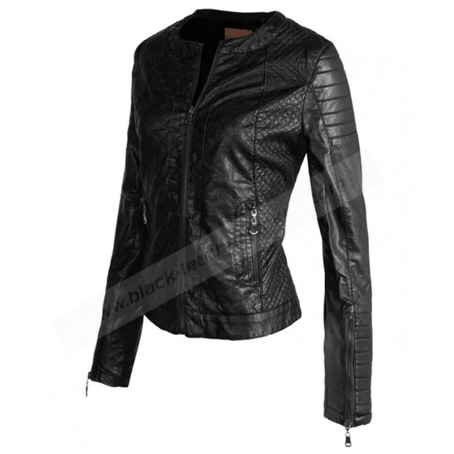 Womens Quilted Faux Leather Jacket | Vintage Black Biker Jacket