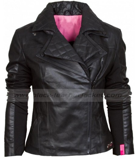 Womens Asymmetric Style Black Leather Biker Jacket