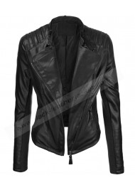 Womens Black Faux Leather Bike Rider Jacket