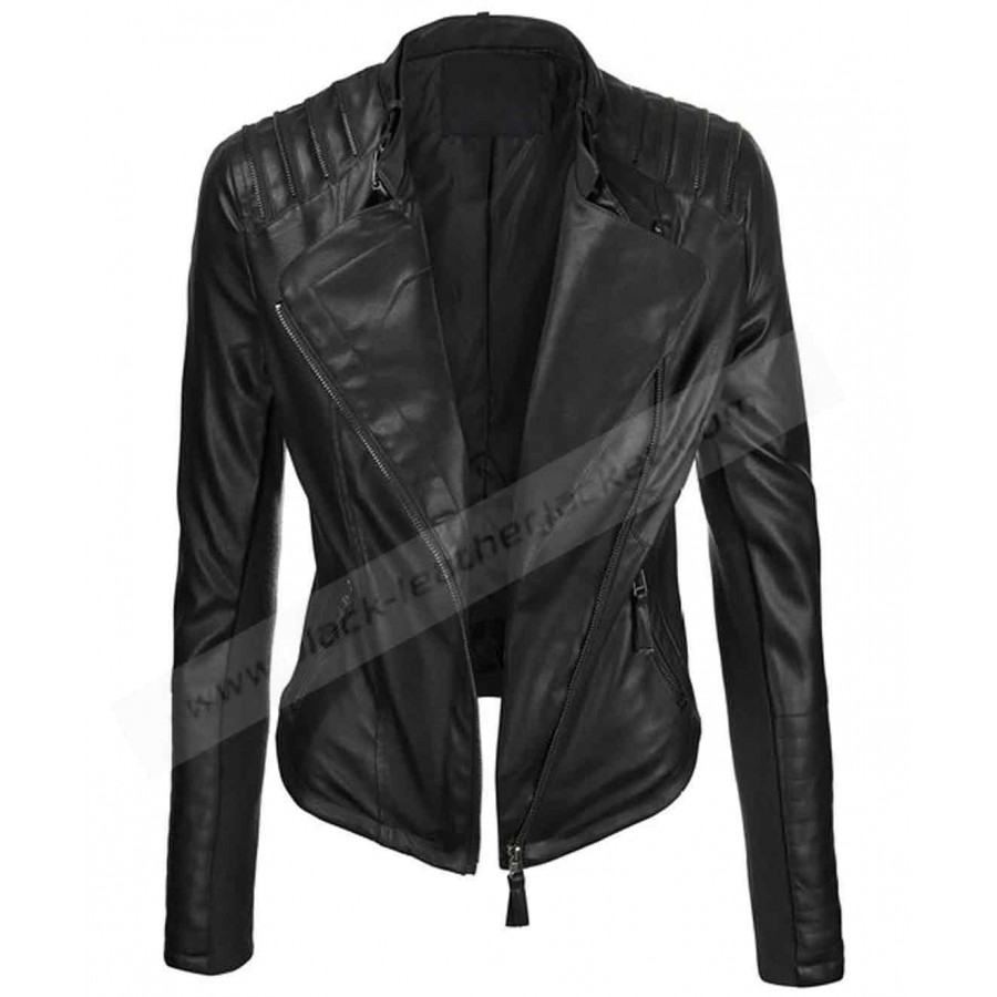 womens faux leather biker jacket
