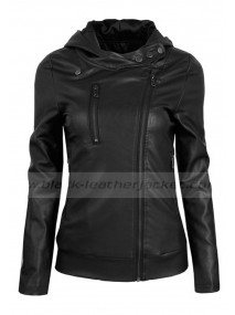Fashionable Womens Black Faux Leather Hooded Jacket