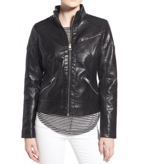 Women's Stand Collar Black Faux Leather Jacket