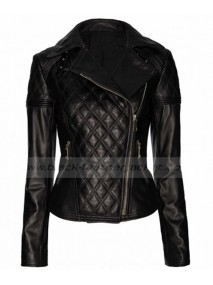 Designer Womens Black Leather Quilted Biker Jacket