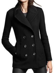 Black Wool Peacoat for Women
