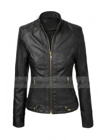 Womens Black Quilted Faux Leather Moto Jacket