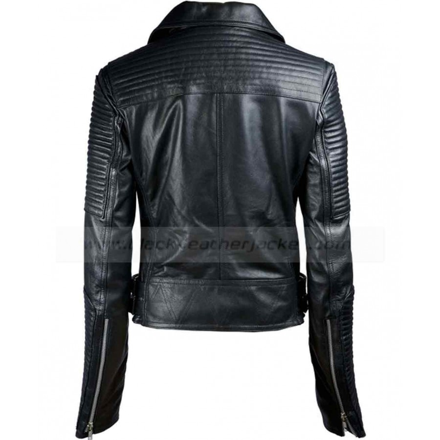 Black Leather Biker Jacket Womens - Jacket