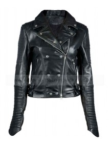 Womens Black Quilted Leather Biker Jacket