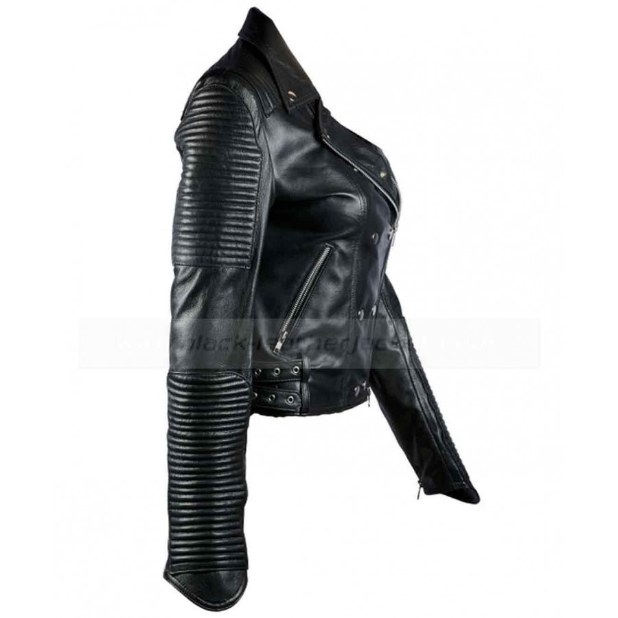 Womens Biker Jacket | Black Quilted Leather Jacket