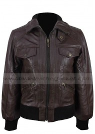 Womens Bomber Style Brown Leather Jacket