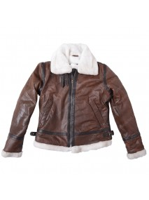 Womens Distressed Brown Aviator Jacket