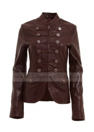 Biker Womens Military Style Brown Blazer Jacket