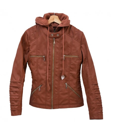 Womens Brown Faux Leather Hooded Jacket