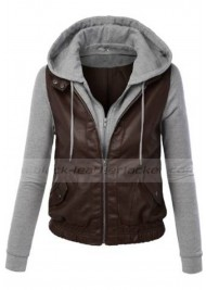 Womens Brown Faux Leather Moto Jacket With Hoodie