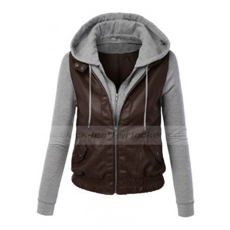 Womens Brown Leather Jacket With Hood - Jacket