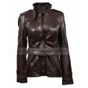 Womens Brown Leather Blazer Jacket