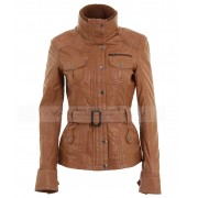 Womens Brown Tan Leather Belted Biker Jacket