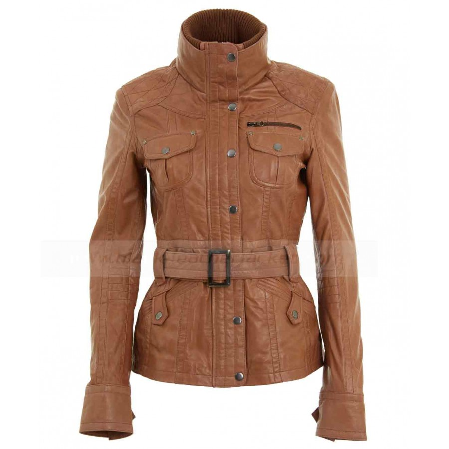 Belted Brown Tan Leather Jacket | Womens Leather Biker Jacket