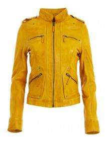 Womens Classic Yellow Leather Biker Jacket
