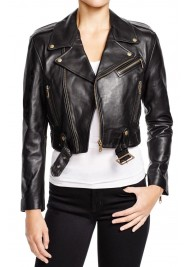 Women's Belted Cropped Black Leather Jacket