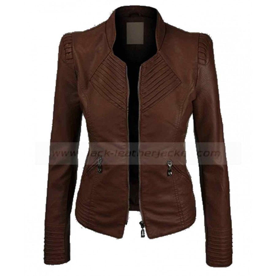 Dark Brown Faux Leather Jacket | Womens Biker Jacket