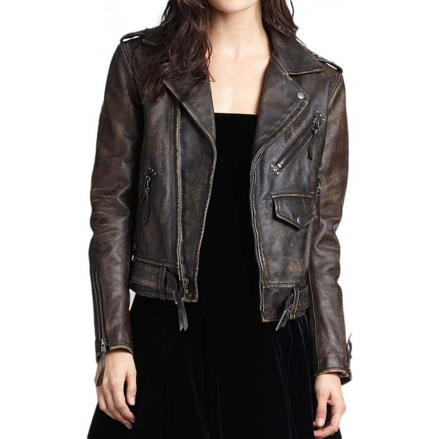 961858bc7cdb Asymmetrical Zipper Distressed Leather Motorcycle Jacket for Women ...