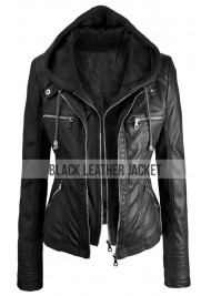 Women's Faux Leather Black Hooded Jacket