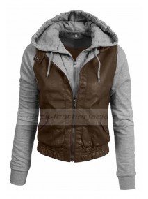 Womens Fitted Mixed Media Faux Leather Moto Jacket With Hoodie