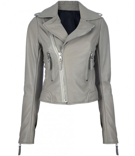 Womens Classic Gray Cropped Leather Biker Jacket