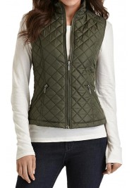 Women's Green Satin Quilted Vest
