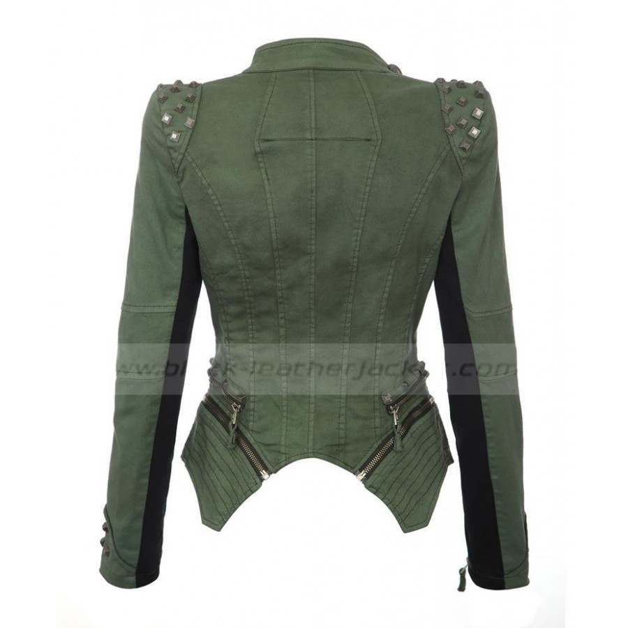 Green Jacket With Black Leather Sleeves | Womens Tuxedo Pleated Jacket