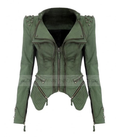 Womens Tuxedo Pleated Green Jacket With Black Leather Sleeves
