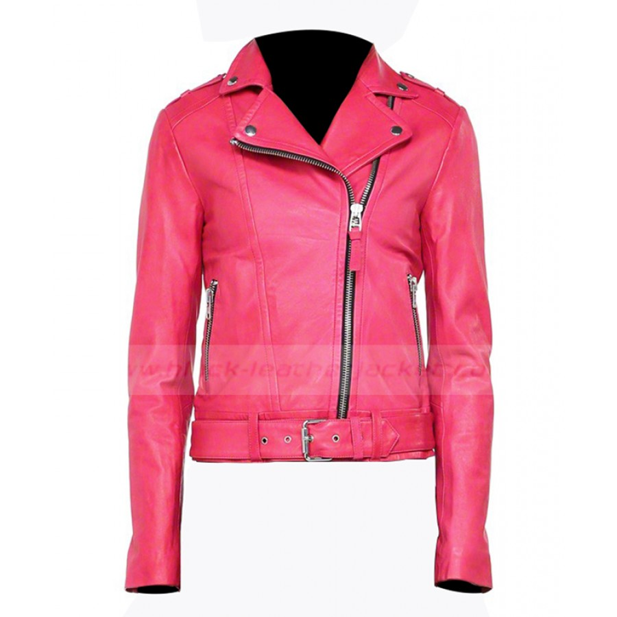 Hot Pink Leather Jacket | Womens Asymmetrical Style Biker Jacket