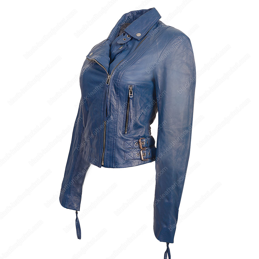 Blue Biker Jacket | Womens Lambskin Leather Jacket