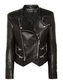 Womens Lambskin Black Leather Quilted Biker Jacket
