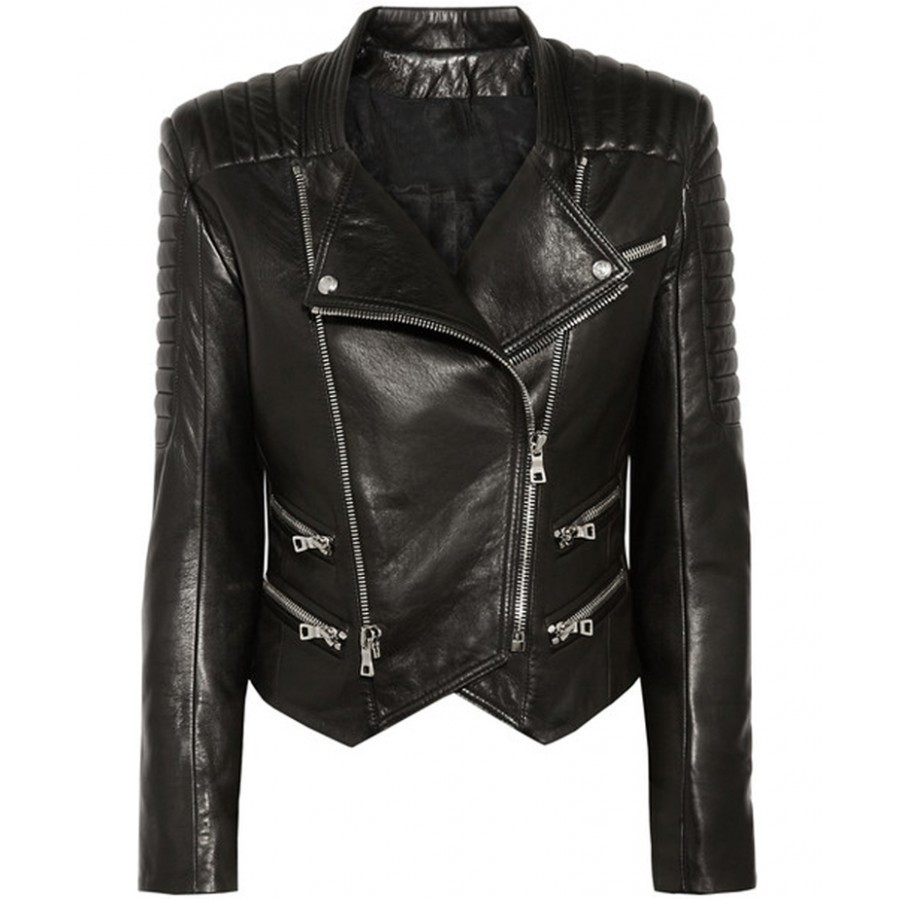 Womens Quilted Jacket | Lambskin Black Leather Biker Jacket