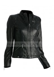 Women's Black Leather Jacket with Studs on Shoulders