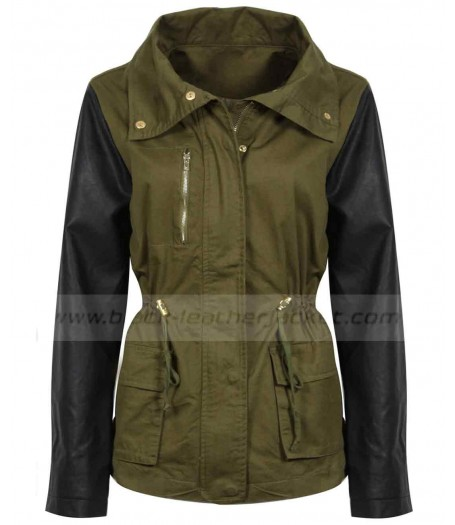 Womens Military Green Jacket with Leather Sleeves