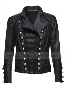 Womens Black Motorcycle Benedetta Military Leather Jacket