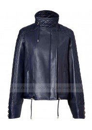 Womens Motorcycle Quilted Leather Blue Jacket