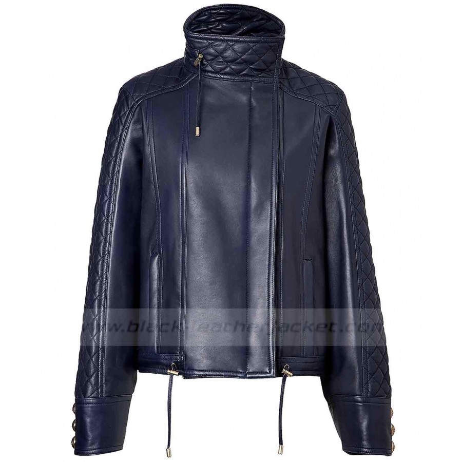 Womens Blue Leather Jacket | Motorcycle Quilted Jacket for Ladies