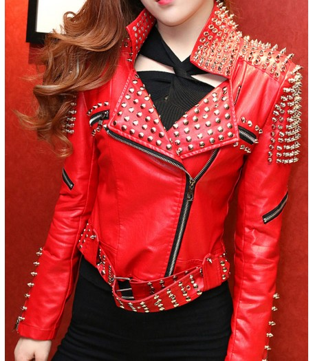 Women's Motorcycle Red Studded Jacket