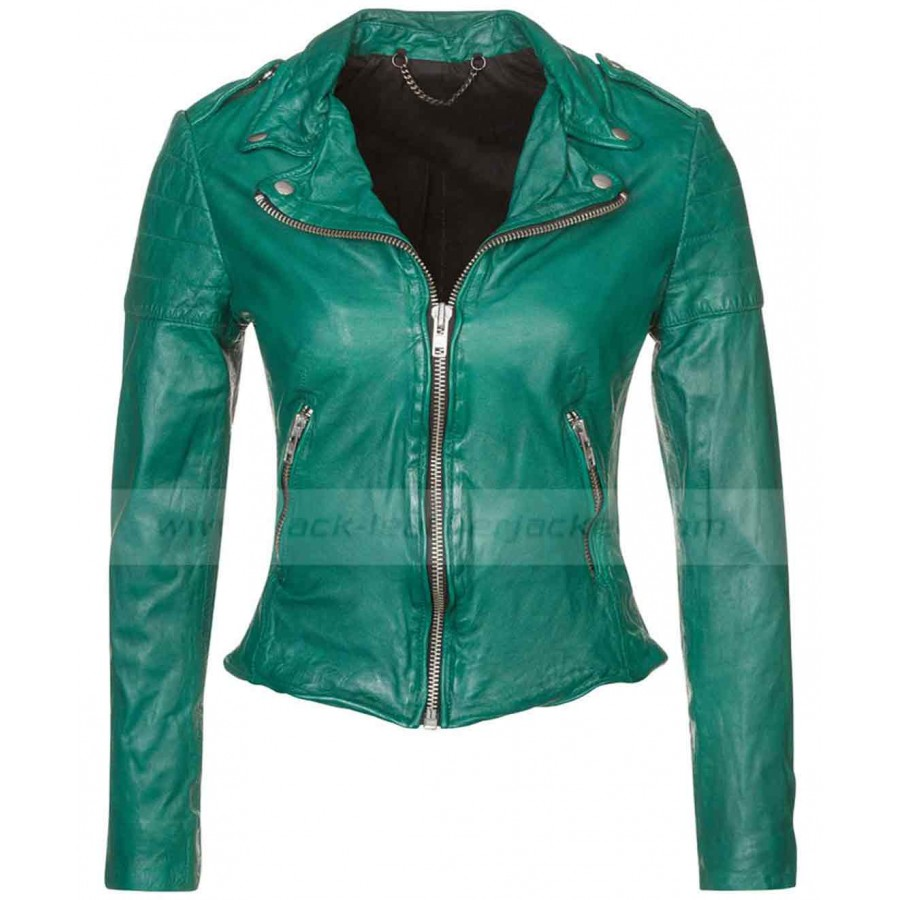 Muubaa Presley Biker Jacket | Womens Green Leather Jacket
