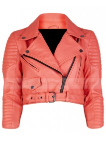 Womens Asymmetrical Cropped Orange Quilted Leather Biker Jacket