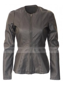 Womens Peplum Collarless Black Faux Leather Jacket