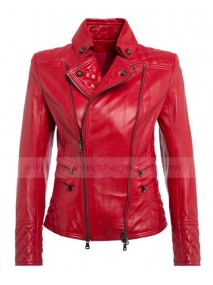 Women's Pierre Red Leather Biker Jacket