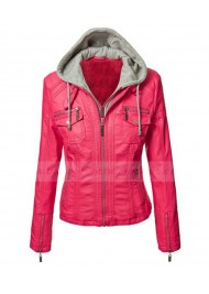 Womens Motorcycle Pink Faux Leather Jacket With Hoodie