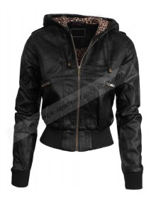 Womens Premium Zip Up Fitted Faux Leather Moto Jacket