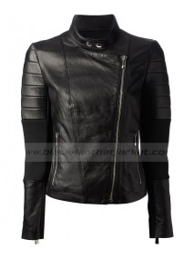 Asymmetric Womens Quilted Leather Biker Jacket