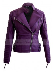 Womens Biker Quilted Faux Purple Leather Jacket